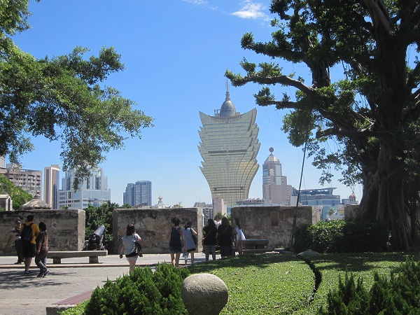 view of the lisboa casino from the fort in Macau