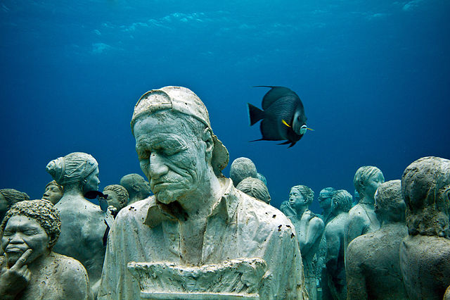 sculpture garden under the water