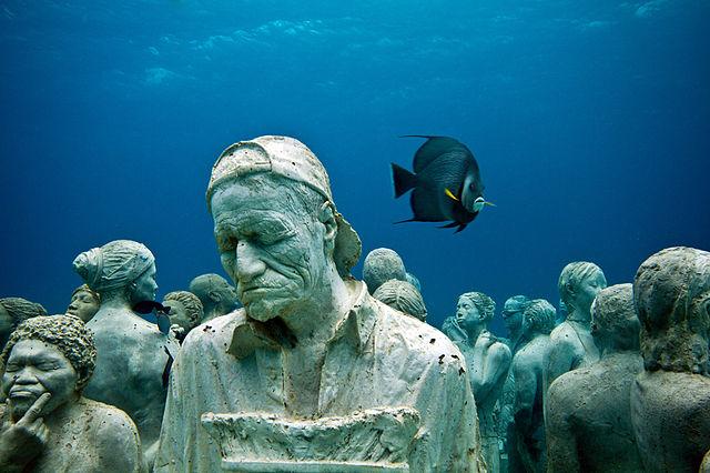 sculpture garden under the water