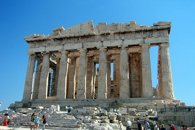 The Parthenon atop the Acropolis in Athens, Greece
